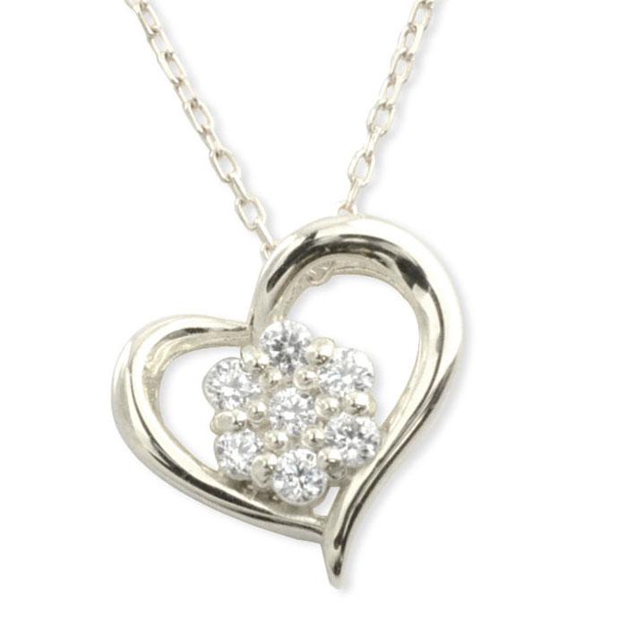 ネックレス ダイヤモンド k18 ハート レディース ホワイトゴールド ハートモチーフ セブンストーン ペンダント ゴールド ダイヤ 18k 18金 華奢 記念 誕生日