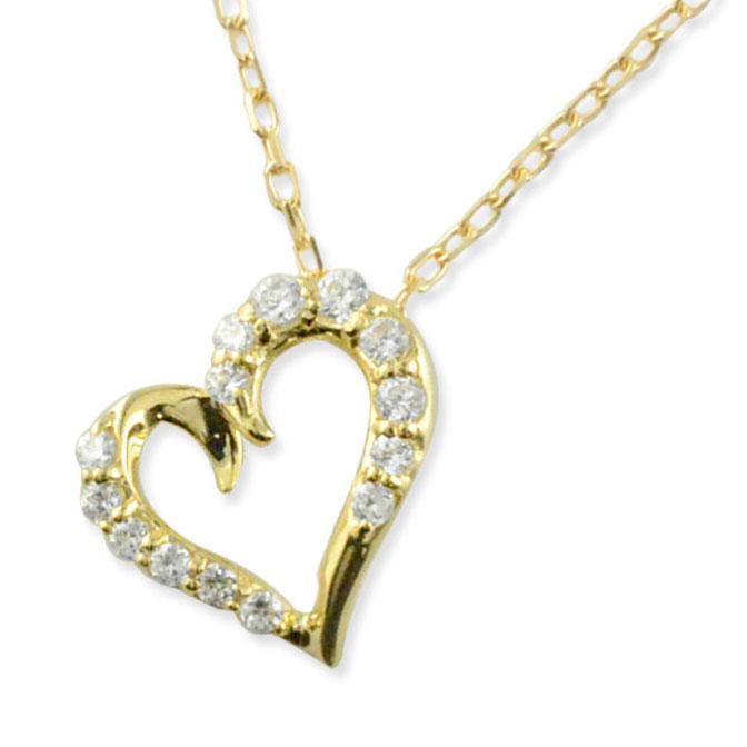 ネックレス ダイヤモンド k10 ハート レディース イエローゴールド ハートモチーフ ペンダント ゴールド ダイヤ 10k 10金 華奢 記念 誕生日