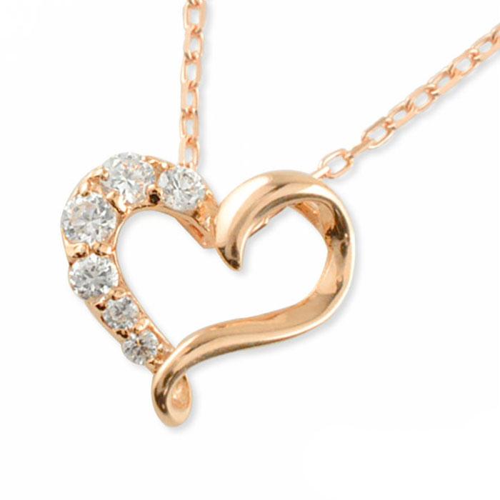 ネックレス ダイヤモンド 信憑 ハート k10 10k 10金 ピンクゴールド ダイヤ 誕生日 在庫限り ペンダント ジュエリー 華奢 レディース ハートモチーフ 記念 ゴールド