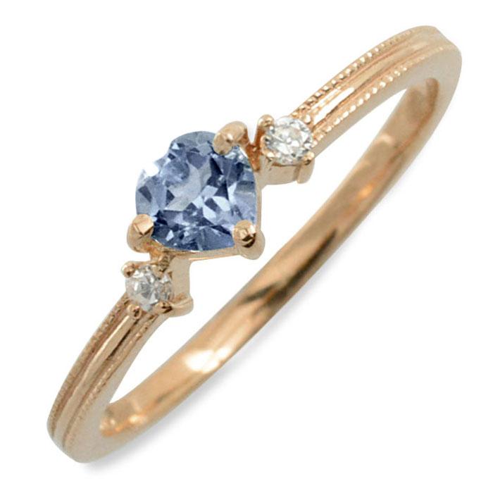 アイオライト ハート ハートモチーフ ダイヤモンド リング 指輪 k18 ゴールド ピンキーリング ピンクゴールド クラシカル 18k 18金 華奢 レディース アンティーク 9月 誕生石 天然石 カラー かわいい ミル ミルウチ 重ねづけ