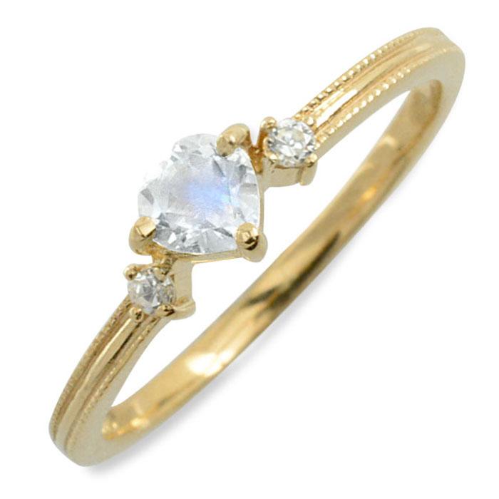 ブルームーン ハート ハートモチーフ ダイヤモンド リング 指輪 k18 ゴールド ピンキーリング イエローゴールド クラシカル 18k 18金 華奢 レディース アンティーク 6月 誕生石 天然石 カラー かわいい ミル ミルウチ 重ねづけ