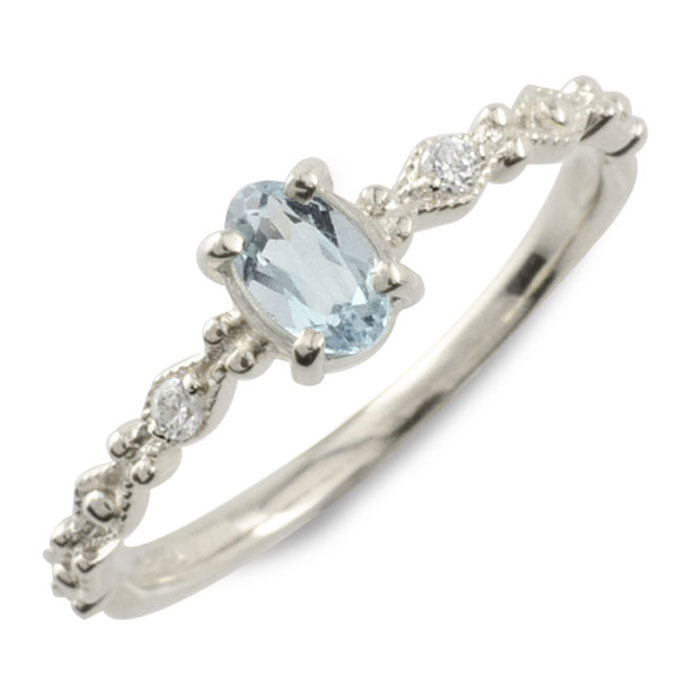 アクアマリン オーバル ダイヤモンド リング 指輪 k18 ゴールド ピンキーリング ホワイトゴールド クラシカル 18k 18金 華奢 レディース アンティーク 3月 誕生石 天然石 カラー かわいい ミル ミルウチ 重ねづけ