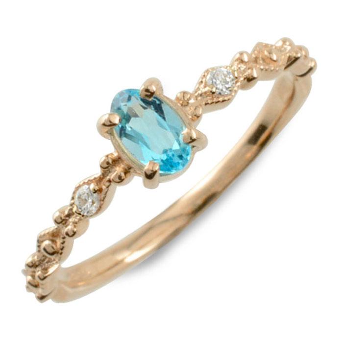 ブルートパーズ オーバル ダイヤモンド リング 指輪 k18 ゴールド ピンキーリング ピンクゴールド クラシカル 18k 18金 華奢 レディース アンティーク 11月 誕生石 天然石 カラー かわいい ミル ミルウチ 重ねづけ