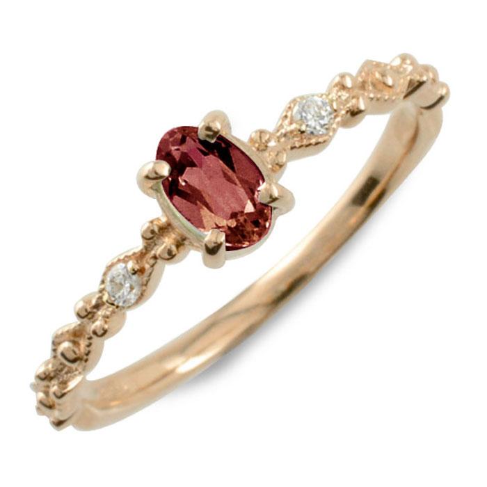 ガーネット オーバル ダイヤモンド リング 指輪 k10 ゴールド ピンキーリング ピンクゴールド クラシカル 10k 10金 華奢 レディース アンティーク 1月 誕生石 天然石 カラー かわいい ミル ミルウチ 重ねづけ