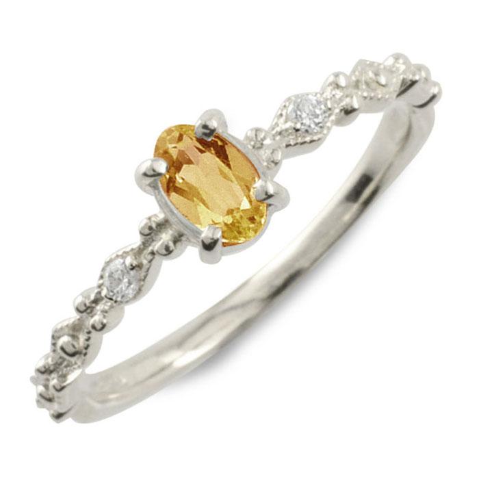 シトリン オーバル ダイヤモンド リング 指輪 k10 ゴールド ピンキーリング ホワイトゴールド クラシカル 10k 10金 華奢 レディース アンティーク 11月 誕生石 天然石 カラー かわいい ミル ミルウチ 重ねづけ