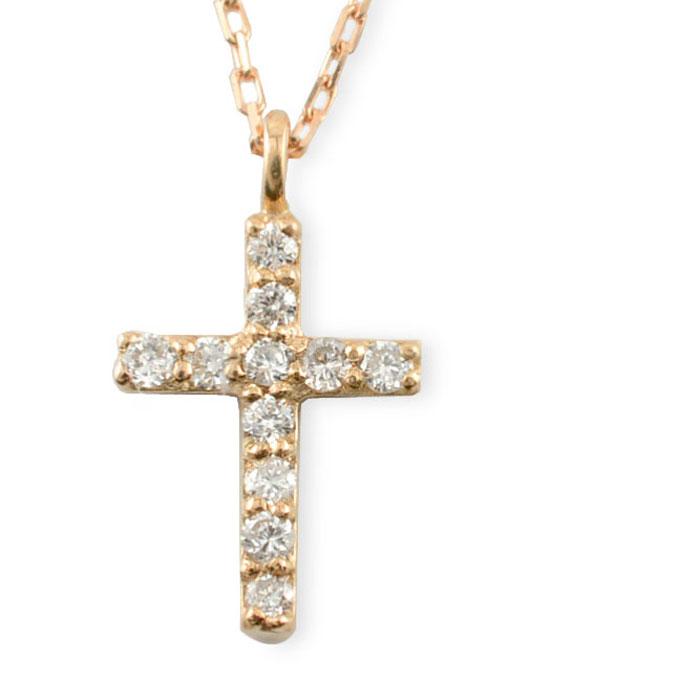 【送料無料】ダイヤモンド クロス ネックレス ピンクゴールド ダイヤ 十字架 k18 18k 18金 華奢 ペンダント 記念日 レディース スキンジュエリー クリスマス Xmas