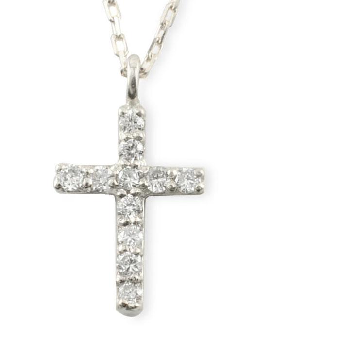 ネックレス ダイヤモンド クロス プラチナ ダイヤ 十字架 pt900 pt850 華奢 ペンダント 記念日 レディース スキンジュエリー