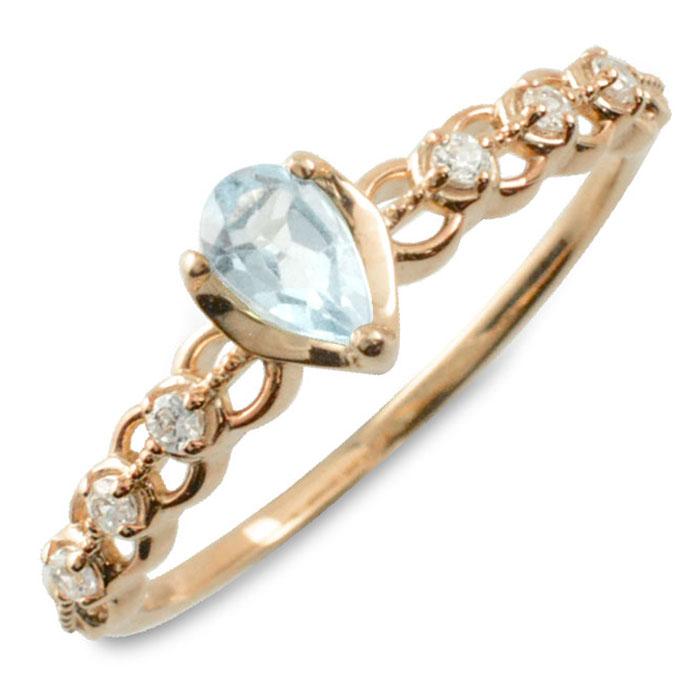 アクアマリン ダイヤモンド リング 指輪 k10 ゴールド ペアシェイプカット ピンキーリング 大粒 ピンクゴールド クラシカル 10k 10金 華奢 レディース アンティーク 3月 ドロップ しずく 誕生石 天然石 カラー かわいい 重ねづけ