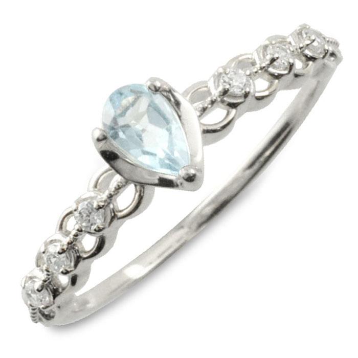 アクアマリン ダイヤモンド リング 指輪 k10 ゴールド ペアシェイプカット ピンキーリング 大粒 ホワイトゴールド クラシカル 10k 10金 華奢 レディース アンティーク 3月 ドロップ しずく 誕生石 天然石 カラー かわいい 重ねづけ