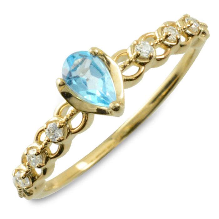 ブルートパーズ ダイヤモンド リング 指輪 k10 ゴールド ペアシェイプカット ピンキーリング 大粒 イエローゴールド クラシカル 10k 10金 華奢 レディース アンティーク 11月 ドロップ しずく 誕生石 天然石 カラー かわいい 重ねづけ