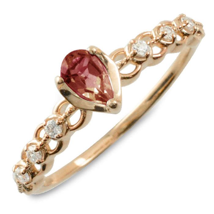 ガーネット ダイヤモンド リング 指輪 k10 ゴールド ペアシェイプカット ピンキーリング 大粒 ピンクゴールド クラシカル 10k 10金 華奢 レディース アンティーク 1月 ドロップ しずく 誕生石 天然石 カラー かわいい 重ねづけ