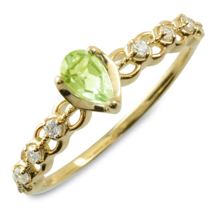 ペリドット ダイヤモンド リング 指輪 k10 ゴールド ペアシェイプカット ピンキーリング 大粒 イエローゴールド クラシカル 10k 10金 華奢 レディース アンティーク 8月 ドロップ しずく 誕生石 天然石 カラー かわいい 重ねづけ