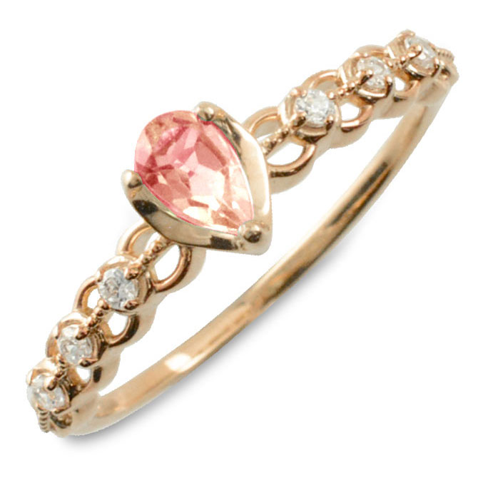 ピンクトルマリン ダイヤモンド リング 指輪 k10 ゴールド ペアシェイプカット ピンキーリング 大粒 ピンクゴールド クラシカル 10k 10金 華奢 レディース アンティーク 10月 ドロップ しずく 誕生石 天然石 カラー かわいい 重ねづけ
