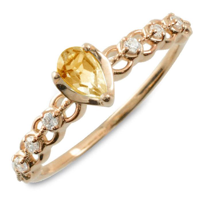 シトリン ダイヤモンド リング 指輪 k10 ゴールド ペアシェイプカット ピンキーリング 大粒 ピンクゴールド クラシカル 10k 10金 華奢 レディース アンティーク 11月 ドロップ しずく 誕生石 天然石 カラー かわいい 重ねづけ