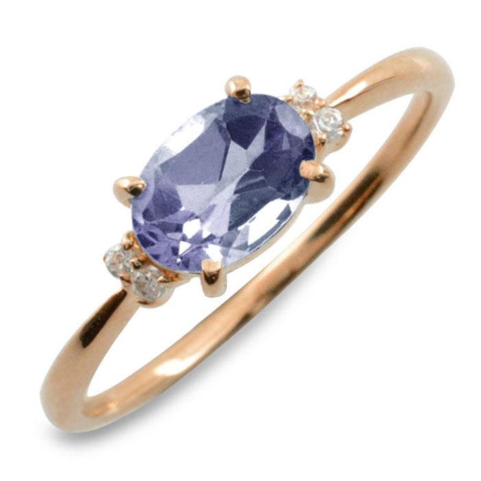 アイオライト オーバル ダイヤモンド リング 指輪 k18 ゴールド ピンキーリング 大粒 ピンクゴールド クラシカル 18k 18金 華奢 レディース アンティーク 9月 誕生石 天然石 カラー かわいい 重ねづけ