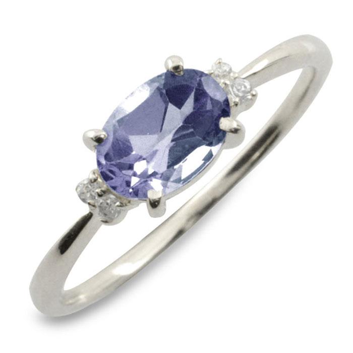 アイオライト オーバル ダイヤモンド リング 指輪 k18 ゴールド ピンキーリング 大粒 ホワイトゴールド クラシカル 18k 18金 華奢 レディース アンティーク 9月 誕生石 天然石 カラー かわいい 重ねづけ