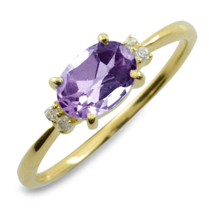 アメジスト オーバル ダイヤモンド リング 指輪 k18 ゴールド ピンキーリング 大粒 イエローゴールド クラシカル 18k 18金 華奢 レディース アンティーク 2月 誕生石 天然石 カラー かわいい 重ねづけ