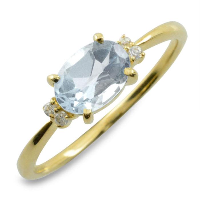 アクアマリン オーバル ダイヤモンド リング 指輪 k10 ゴールド ピンキーリング 大粒 イエローゴールド クラシカル 10k 10金 華奢 レディース アンティーク 3月 誕生石 天然石 カラー かわいい 重ねづけ