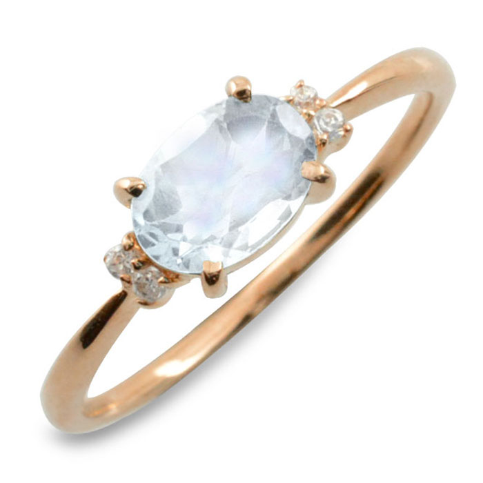 ブルームーン オーバル ダイヤモンド リング 指輪 k10 ゴールド ピンキーリング 大粒 ピンクゴールド クラシカル 10k 10金 華奢 レディース アンティーク 6月 誕生石 天然石 カラー かわいい 重ねづけ