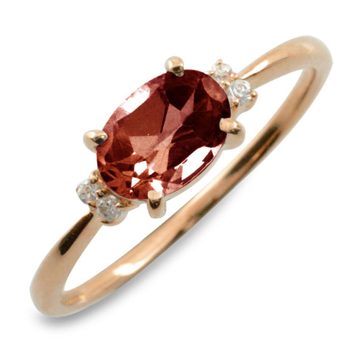 ガーネット オーバル ダイヤモンド リング 指輪 k18 ゴールド ピンキーリング 大粒 ピンクゴールド クラシカル 18k 18金 華奢 レディース アンティーク 1月 誕生石 天然石 カラー かわいい 重ねづけ