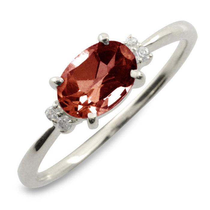 ガーネット オーバル ダイヤモンド リング 指輪 k18 ゴールド ピンキーリング 大粒 ホワイトゴールド クラシカル 18k 18金 華奢 レディース アンティーク 1月 誕生石 天然石 カラー かわいい 重ねづけ
