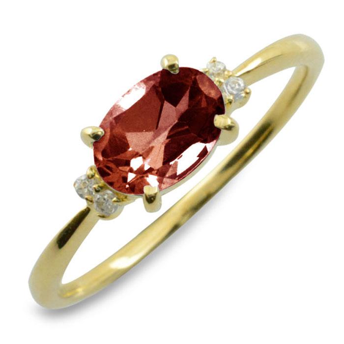 ガーネット オーバル ダイヤモンド リング 指輪 k10 ゴールド ピンキーリング 大粒 イエローゴールド クラシカル 10k 10金 華奢 レディース アンティーク 1月 誕生石 天然石 カラー かわいい 重ねづけ