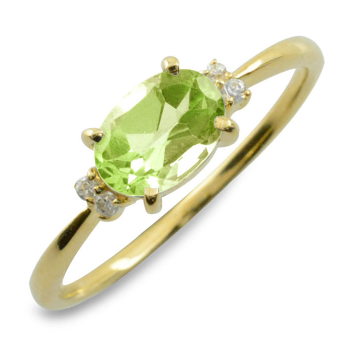 ペリドット オーバル ダイヤモンド リング 指輪 k10 ゴールド ピンキーリング 大粒 イエローゴールド クラシカル 10k 10金 華奢 レディース アンティーク 8月 誕生石 天然石 カラー かわいい 重ねづけ
