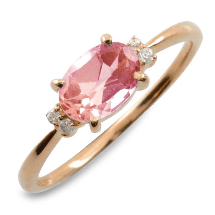ピンクトルマリン オーバル ダイヤモンド リング 指輪 k10 ゴールド ピンキーリング 大粒 ピンクゴールド クラシカル 10k 10金 華奢 レディース アンティーク 10月 誕生石 天然石 カラー かわいい 重ねづけ