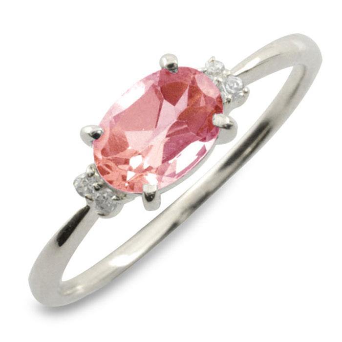 ピンクトルマリン オーバル ダイヤモンド リング 指輪 k10 ゴールド ピンキーリング 大粒 ホワイトゴールド クラシカル 10k 10金 華奢 レディース アンティーク 10月 誕生石 天然石 カラー かわいい 重ねづけ