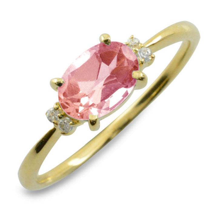 ピンクトルマリン オーバル ダイヤモンド リング 指輪 k18 ゴールド ピンキーリング 大粒 イエローゴールド クラシカル 18k 18金 華奢 レディース アンティーク 10月 誕生石 天然石 カラー かわいい 重ねづけ