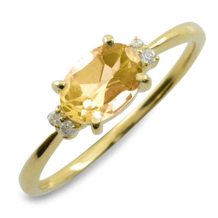 シトリン オーバル ダイヤモンド リング 指輪 k10 ゴールド ピンキーリング 大粒 イエローゴールド クラシカル 10k 10金 華奢 レディース アンティーク 11月 誕生石 天然石 カラー かわいい 重ねづけ