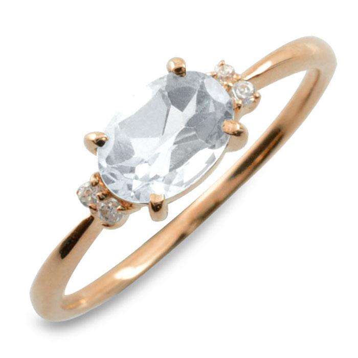 ホワイトトパーズ ダイヤモンド リング 指輪 k18 ゴールド ピンキーリング 大粒 ピンクゴールド クラシカル 18k 18金 華奢 レディース アンティーク 12月 誕生石 天然石 カラー かわいい 重ねづけ
