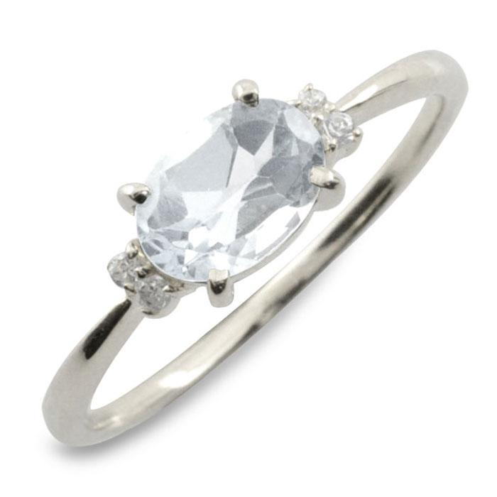 ホワイトトパーズ ダイヤモンド リング 指輪 k18 ゴールド ピンキーリング 大粒 ホワイトゴールド クラシカル 18k 18金 華奢 レディース アンティーク 12月 誕生石 天然石 カラー かわいい 重ねづけ