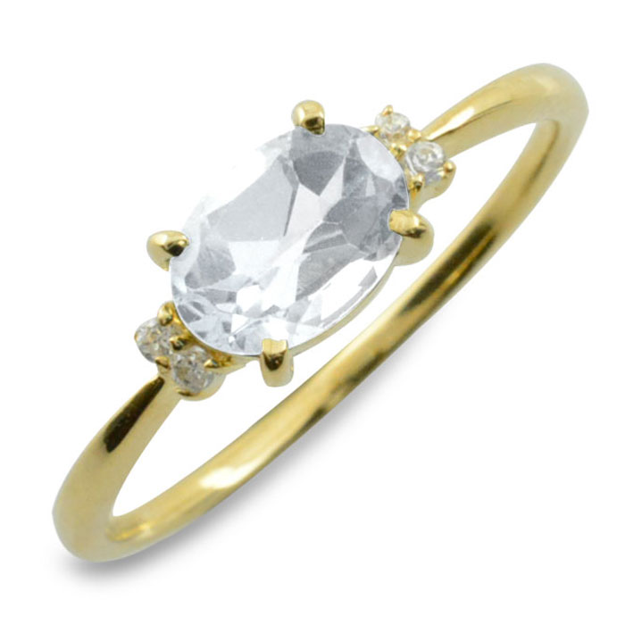 ホワイトトパーズ ダイヤモンド リング 指輪 k18 ゴールド ピンキーリング 大粒 イエローゴールド クラシカル 18k 18金 華奢 レディース アンティーク 12月 誕生石 天然石 カラー かわいい 重ねづけ