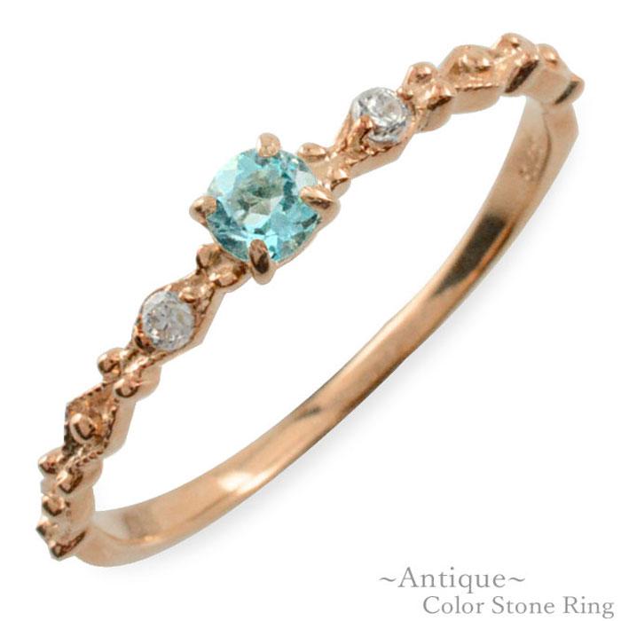 ブルートパーズ リング ダイヤモンド 指輪 k10 ゴールド ピンクゴールド クラシカル 10k 10金 華奢 レディース アンティーク 11月 誕生石 天然石 カラー かわいい 重ねづけ