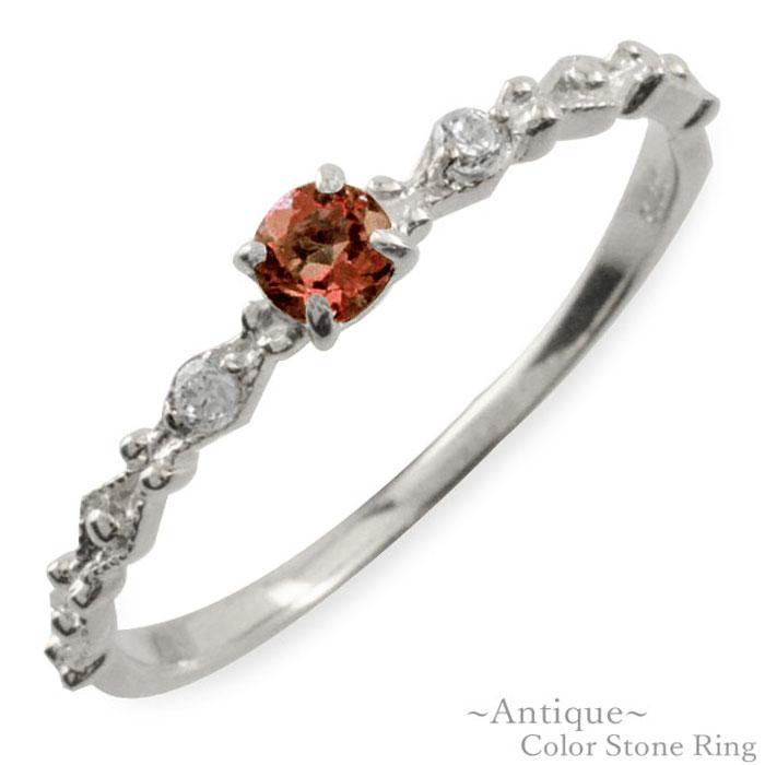 ガーネット リング ダイヤモンド 指輪 k10 ゴールド ホワイトゴールド クラシカル 10k 10金 華奢 レディース アンティーク 1月 誕生石 天然石 カラー かわいい 重ねづけ