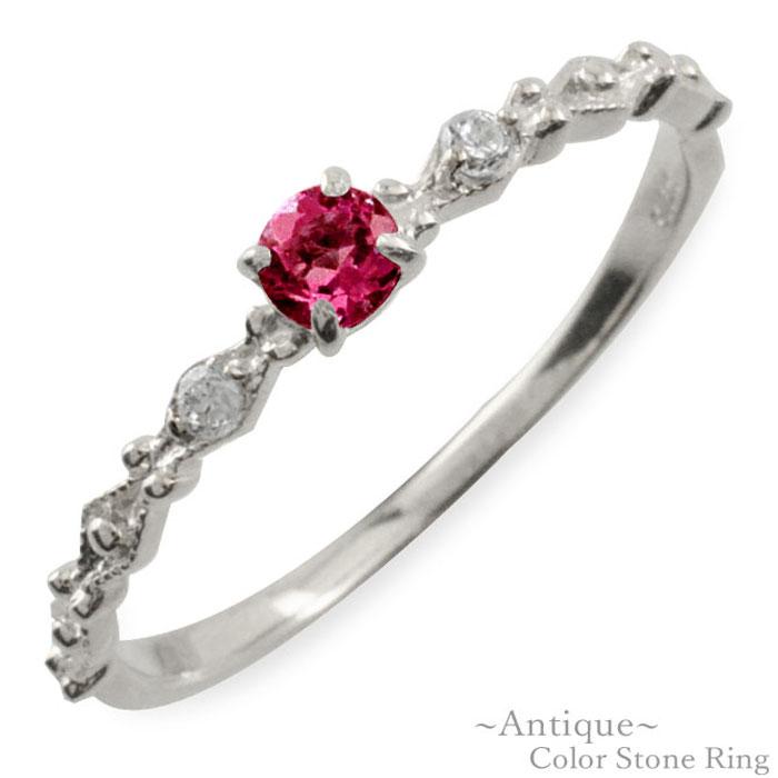 ルビー リング ダイヤモンド 指輪 k18 ゴールド ホワイトゴールド クラシカル 18k 18金 華奢 レディース アンティーク 7月 誕生石 天然石 カラー かわいい 重ねづけ