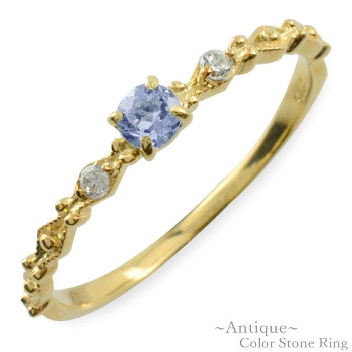 【送料無料】タンザナイト リング ダイヤモンド 指輪 k10 ゴールド イエローゴールド クラシカル 10k 10金 華奢 レディース アンティーク 12月 誕生石 天然石 カラー かわいい 重ねづけ