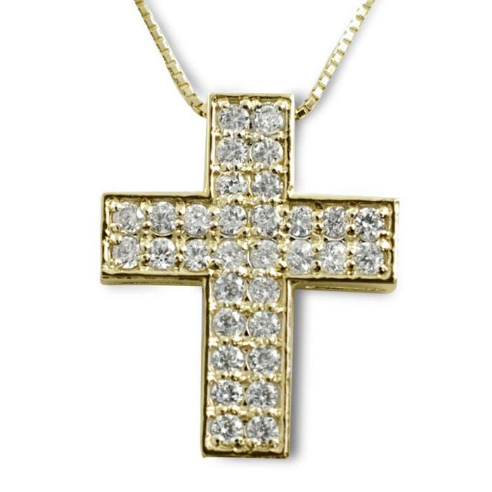 ネックレス ダイヤモンド k18 クロス レディース ゴールド ペンダント イエローゴールド ダイヤ 18k 18金 pendant 記念 誕生日 十字架