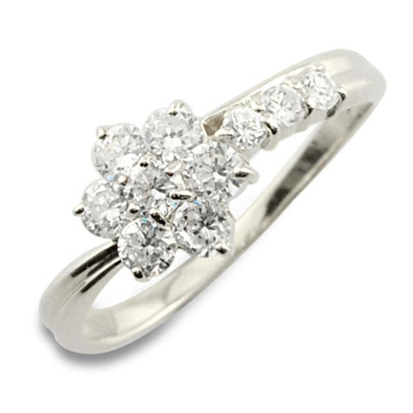 【送料無料】リング ダイヤモンド プラチナ 指輪 10周年 記念 pt900 プラチナ900 フラワー アニバーサリー テンダイヤモンド 10粒 花 10石 重ねづけ レディース 天然石 ホワイトデー