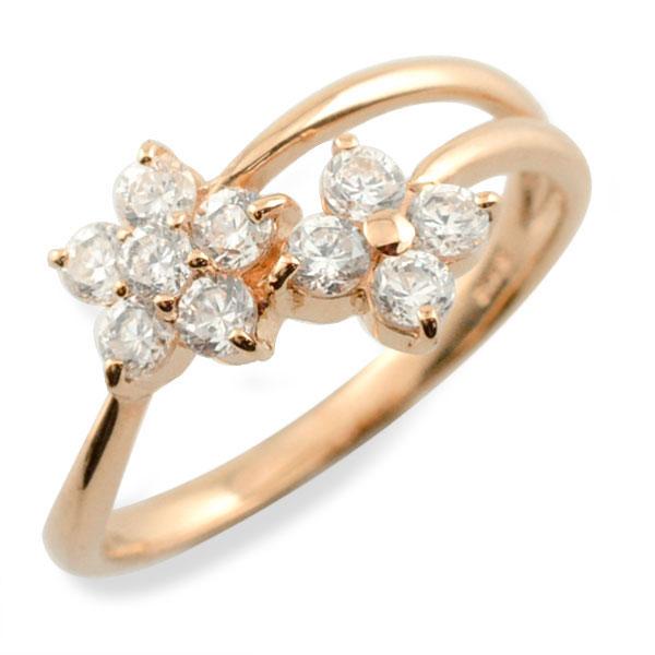 リング ダイヤモンド k10 指輪 10周年 記念 ピンクゴールド フラワー アニバーサリー テンダイヤモンド スウィート 10粒 ゴールド 花 10k 10石 10金 可愛い レディース 天然石