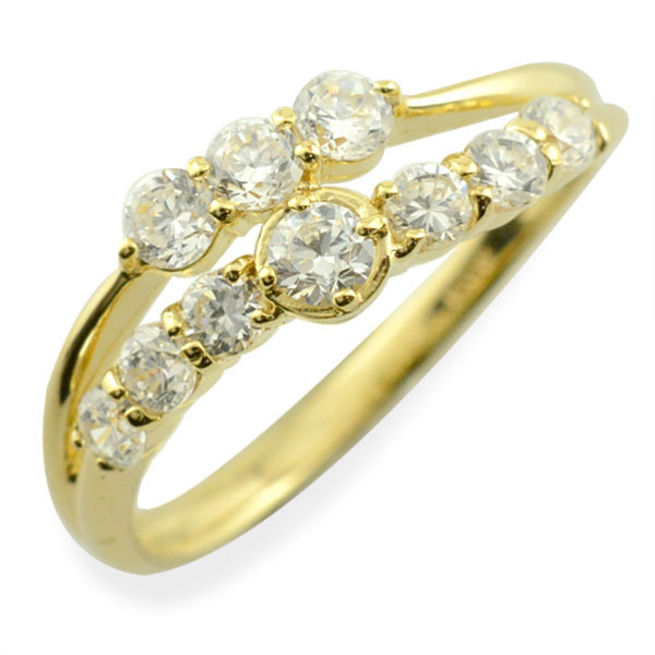 リング ダイヤモンド k10 指輪 10周年 記念 イエローゴールド 2連 アニバーサリー テンダイヤモンド 10粒 ゴールド 10k 10石 10金 レディース 天然石