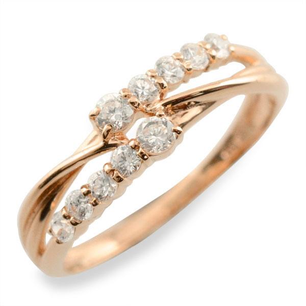 リング ダイヤモンド k10 指輪 10周年 記念 ピンクゴールド 2連 アニバーサリー テンダイヤモンド 10粒 ゴールド 10k 10石 10金 レディース 天然石