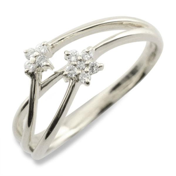 リング ダイヤモンド k18 指輪 10周年 記念 ホワイトゴールド フラワー アニバーサリー テンダイヤモンド スウィート 10粒 ゴールド 花 18k 10石 18金 可愛い レディース 天然石