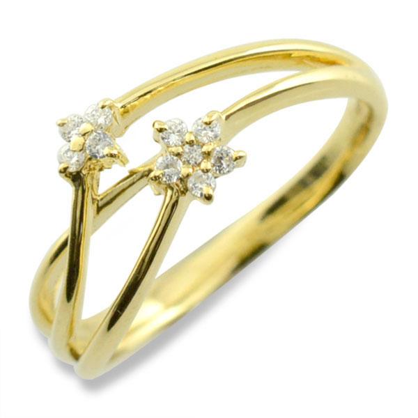 リング ダイヤモンド k18 指輪 10周年 記念 イエローゴールド フラワー アニバーサリー テンダイヤモンド スウィート 10粒 ゴールド 花 18k 10石 18金 可愛い レディース 天然石