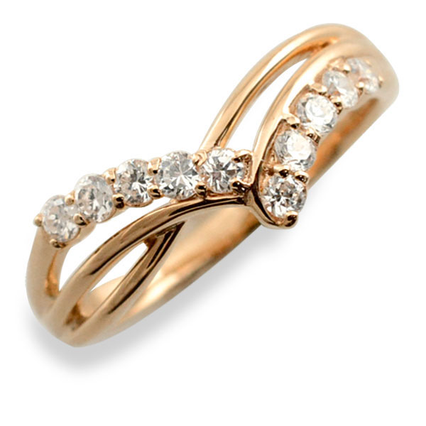 リング ダイヤモンド k18 指輪 10周年 記念 ピンクゴールド アニバーサリー 10粒 ゴールド 18k 10石 18金 重ねづけ レディース 天然石