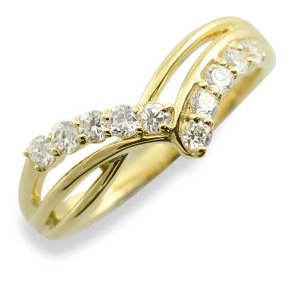 【送料無料】リング ダイヤモンド k10 指輪 10周年 記念 イエローゴールド アニバーサリー 10粒 ゴールド 10k 10石 10金 重ねづけ レディース 天然石 クリスマス Xmas