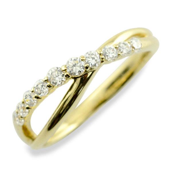 リング ダイヤモンド k18 指輪 10周年 記念 イエローゴールド アニバーサリー テンダイヤモンド 10粒 ゴールド 18k 10石 18金 重ねづけ レディース 天然石