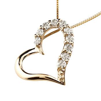 煌びやかに輝くダイヤモンドハートネックレス ダイヤモンド ギフト ペンダント ハート 記念日 ダイヤ 10k レディースハート ハートネックレス K10イエローゴールド 日本製 ダイヤネックレス