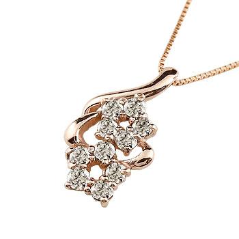 ネックレス ダイヤモンド ペンダント フラワー 記念日 ダイヤ 花 K10 ピンクゴールド ダイヤモンド 10k ダイヤネックレス レディース